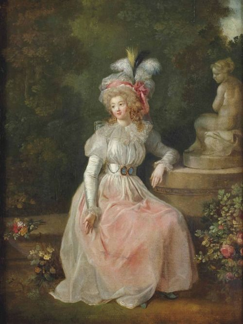 Attributed to Marguerite Gérard (French, 1761 - 1837): Woman sitting in a park…