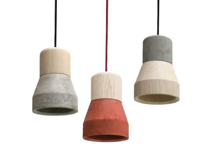 Lampada a sospensione in cemento CEMENT WOOD LAMP by Specimen Editions design Decha Archjananun