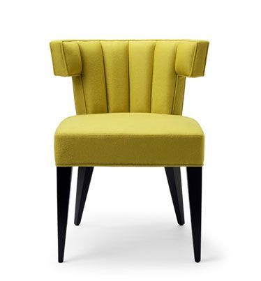 THE ISABELLA DINING CHAIR.  Shown here upholstered in Sandra Jordan Prima Alpaca Chartreuse, with ebonised walnut legs.  Hand signed and individually numbered.  stuartscott.co.uk