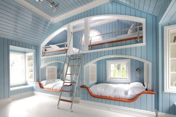 What a cool beach house idea! Would be neat to separate the two bottom beds with an inset window