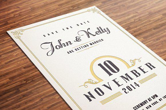 Vintage Wedding Invitation Postcard by DesignDistrict on @creativemarket