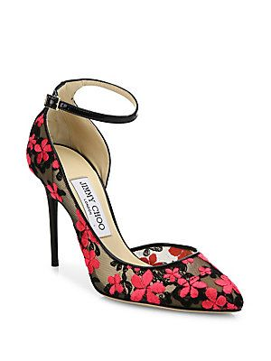 Jimmy Choo Lucy 100 Floral-Embroidered Lace D'Orsay Pumps