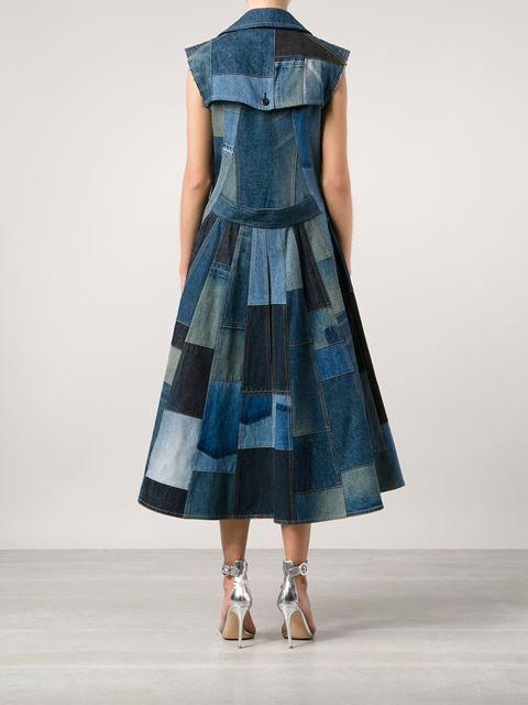 patchwork flared denim dress