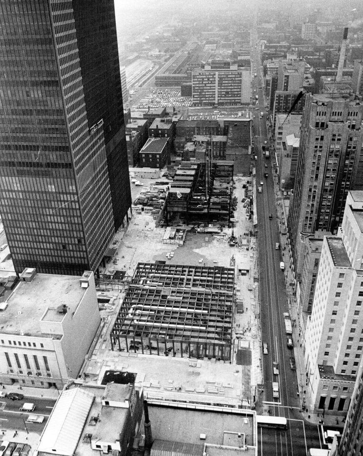 Toronto Dominion Centre, under construction, 1967. View west on King Street West at Bay Street. Photo by Graham Bezant. - Courtesy of the Toronto Public Library & Toronto Star Archives.