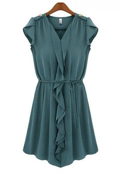 Navy Blue Belt Collarless V-neck Mini Chiffon Dress