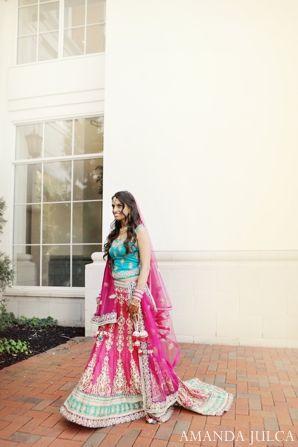 teal,hot pink,bridal fashions,portraits,indian wedding bride,indian wedding portrait,bridal portrait,traditional bridal portrait,color inspiration for bridal lengha,AMANDA JULCA