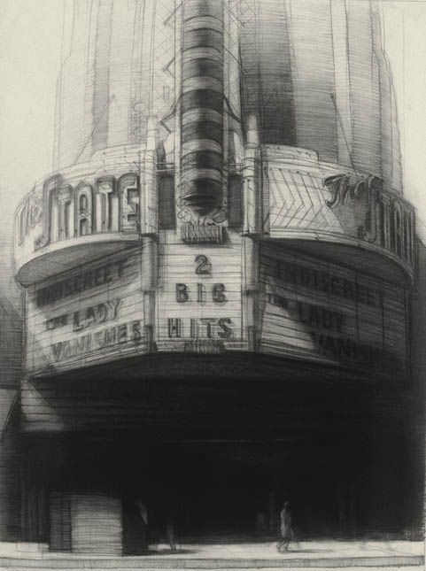 The Lady Vanishes, 40'' x 30'', charcoal on paper, 1992