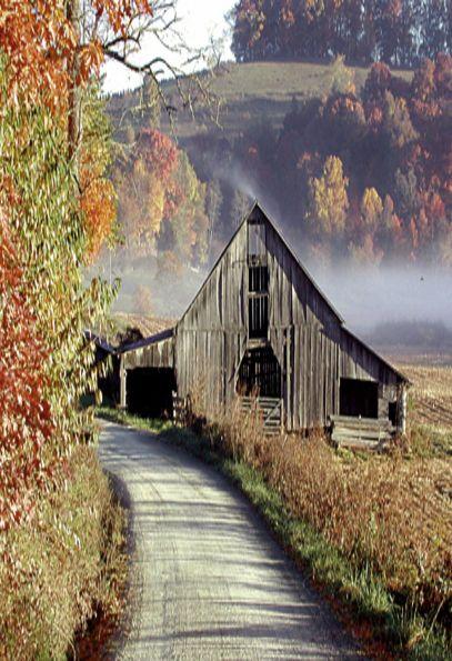 Barn Beside Road With Fog