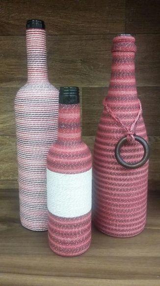 Trio de garrafas decorativas degradê
