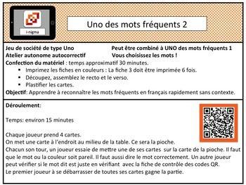 UNO des mots fréquents 2    Un jeu de 10 cartes Uno avec codes QR.  Complètement autocorrectif.