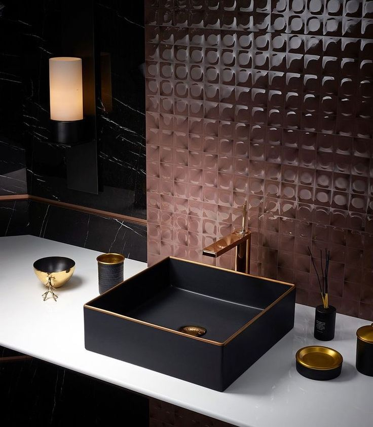 Mixing Matt Black Sink And Rose Gold Tapes Stylish