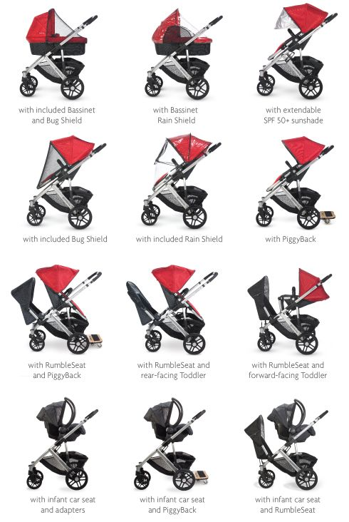 Uppa Baby VISTA.  So many options.  We love to push this stroller.  So easy!  If you have 2+ kids and like a tandem style stroller, we like this one!