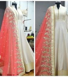 Buy Cream  embroidered semi stitiched salwar with dupatta anarkali-salwar-kameez online