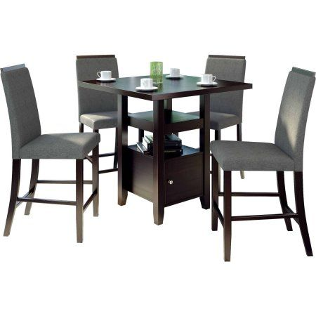 CorLiving Bistro 5pc 36 inch Counter Height Rich Cappuccino Dining Set, Pewter Grey, Gray