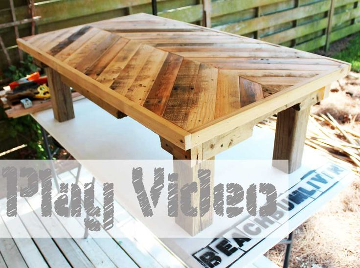 Original Pallet Wood Coffee Table — BeachBumLivin | Awesome DIY Furniture Project Ideas | Tutorials on distressing, antiquing, and building ...