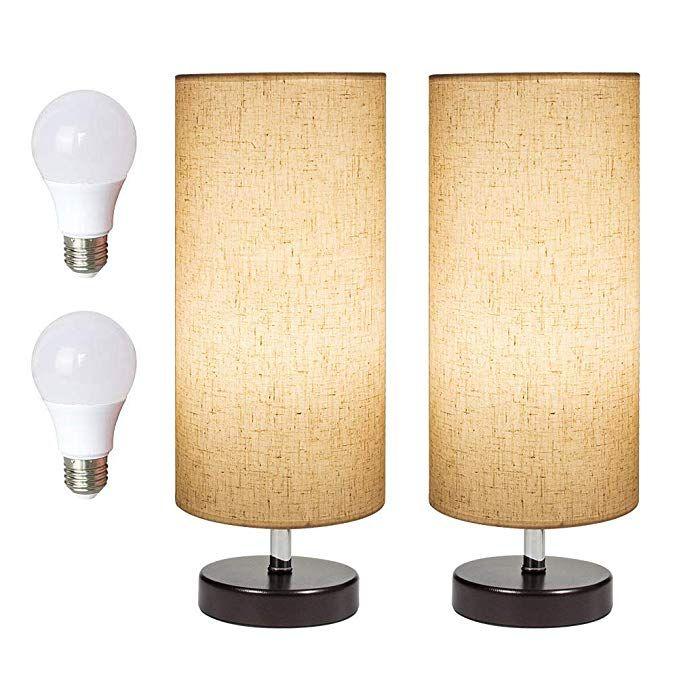 Deeplite Table Lamps Set Of 2 Bedside Desk Lamps 2 Pack Set Led Bulb Included Minimalist Wood Table Lamps For Table Lamp Wood Table Lamp Bedside Table Lamps