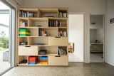 Combination of bookshelf and office storage made from Birch plywood | Living | Make Furniture.co.nz