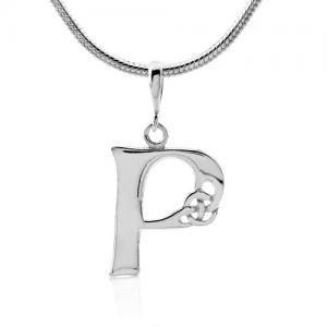 Keltský stříbrný přívěsek písmeno P aff#