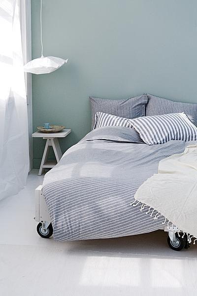 Striped duvet cover #bedroom