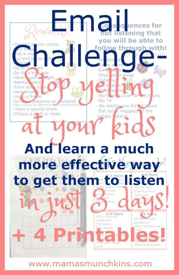 Are you always yelling at your kids? See how effectively you ca get them to listen without yelling! Get actionable steps, tips and printables!