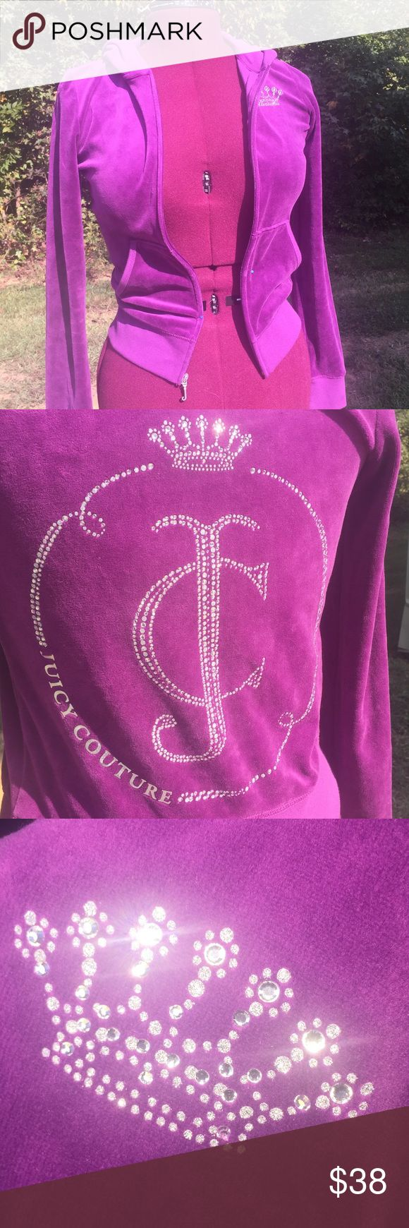 Juicy Couture Velvet-ish Hoodie! Jeweled back Sz S Plum purple zip up hoodie! Back os gorgeous. See pics . Sz Small Juicy Couture Jackets & Coats