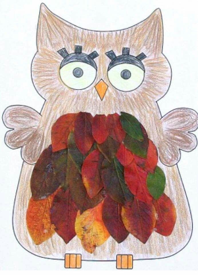вторую рисунки из листьев сова это свежая