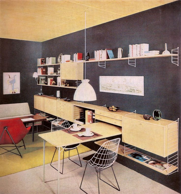 "This is a Bertoia ad from 1961 but it still feels contemporary. On wall Swedish ""String"""