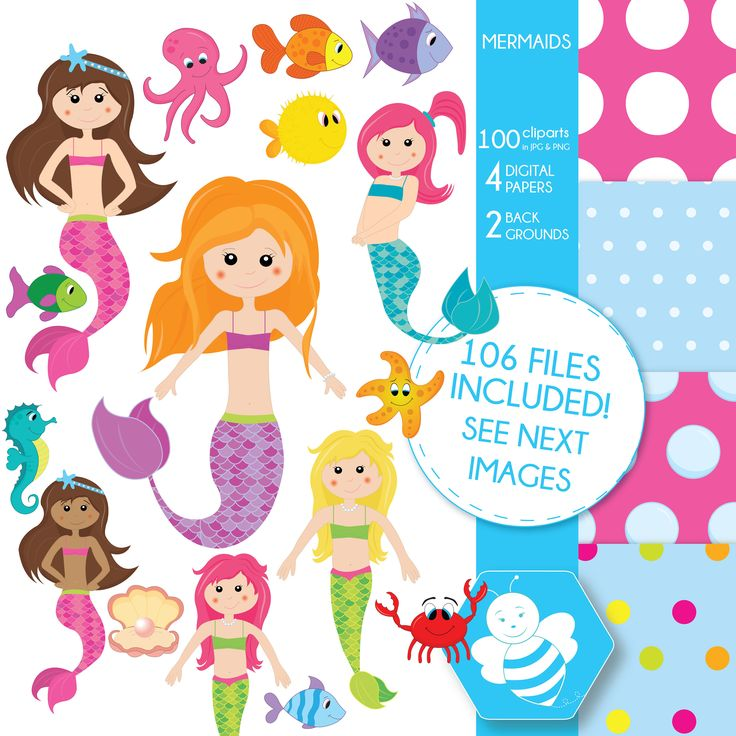 Mermaid clipart commercial use, vector graphics, digital clip art, digital images, CL0011 by Sweetdesignhive on Etsy