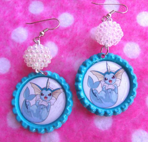 Eevee has always been my favorite Pokemon. So it's not surprising that I felt compelled to create these fantastic Vaporeon earrings!  If you're a Pokemon fan also you simply must check out this super fab earrings by Hobbit.Town Jewelry. They feature bright blue bottle cap settings and gorgeous ...