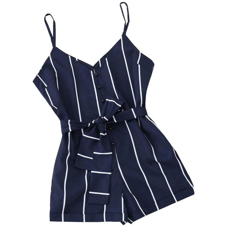 Striped Belted Short Jumpsuits PU27 3