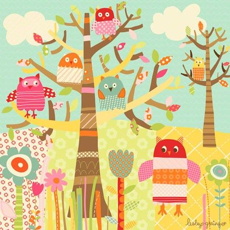 """Pretty Owls"" kids canvas wall art by Lesley Grainger for Oopsy daisy, Fine Art for Kids $119"