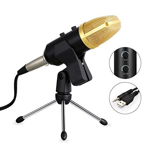 Microphone, YIPIN Condenser Microphone Sound Recording Microphones Radio Audio Studio Broadcasting Youtube Microphone With Stand For Laptop PC Computer (Gold)