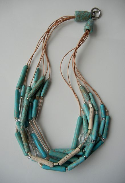South Western Wind | Flickr - Photo Sharing! By Sonya's Polymer Creations. Faux turquoise, glass and leather.