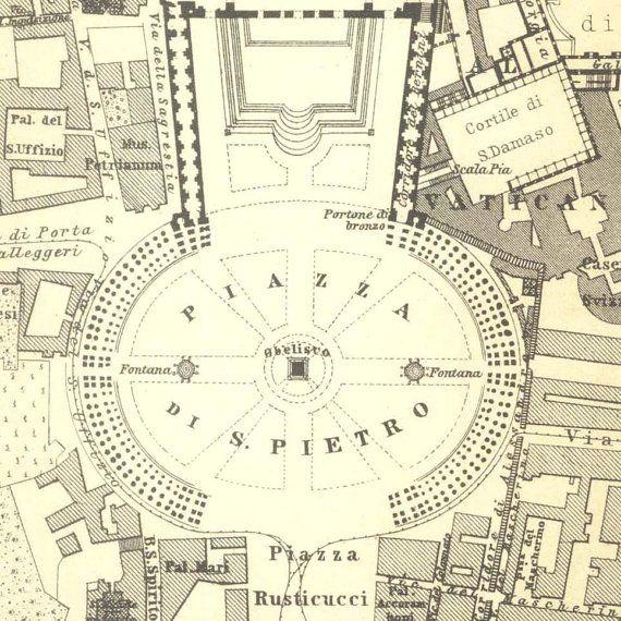 1909 Vatican City Plan St Peters Basilica Pontifical