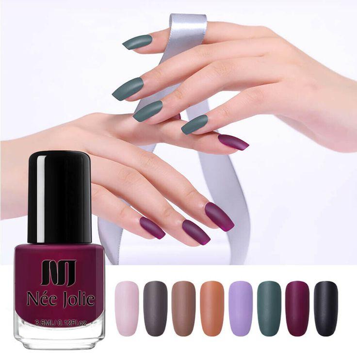 NEE JOLIE Matte Nail Polish Nude Pink Purple Green 3.5ml Oily Nail Art Varnish #…