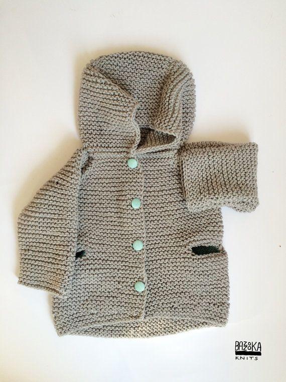 Chunky Hand knitted 100% merino wool baby jacket. baby by bazzooka