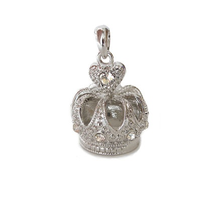 £2.47 Rhodium plated crown pendant/charm with rhinestones 30x20mm