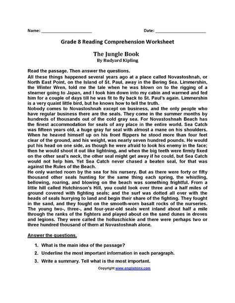 8th Grade Reading Worksheets the Jungle Book Eighth Grade ...