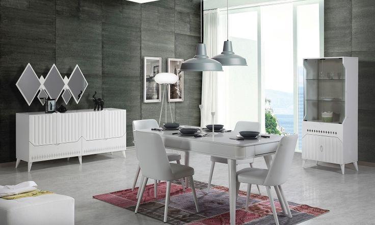 Viresa Yemek Odası Takımı , aydınlık ve ferah renkleri ile evinize şıklık, sunumlarınıza zerafet katacak.  #yemekodası #yemekodasi #tarz #tarzmobilya #mobilya #mobilyatarz #furniture #interior #home #ev #dekorasyon #şık #işlevsel #sağlam #tasarım #konforlu #livingroom #salon #dizayn #modern #rahat #konsol #follow #interior #armchair #klasik #modern