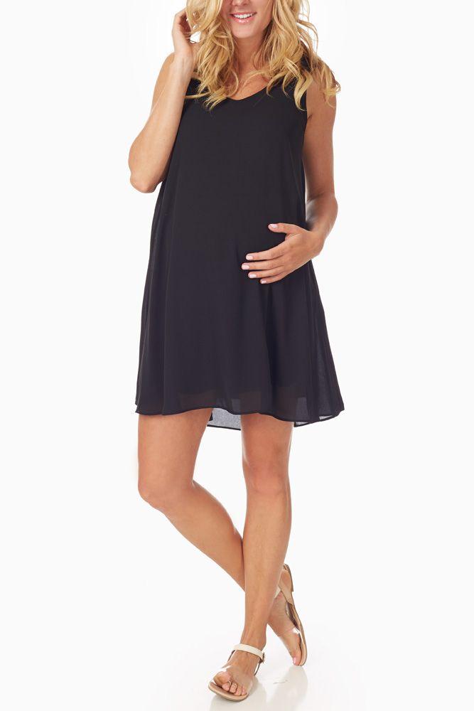 Basic-Black-Chiffon-Maternity-Dress #maternityfashion #maternitywardrobe #littleblackdress