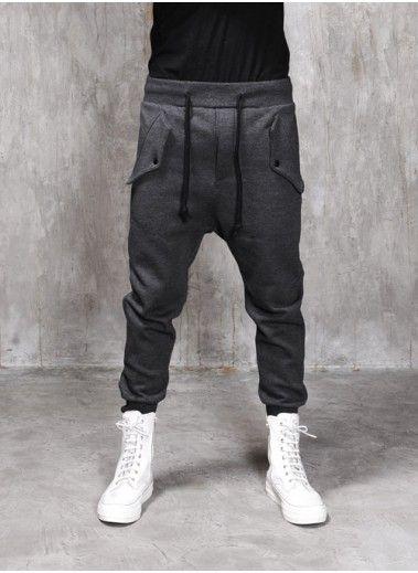 Mens Drop Crotch Flap Pocket Cotton Fleece Jersey Pants at Fabrixquare