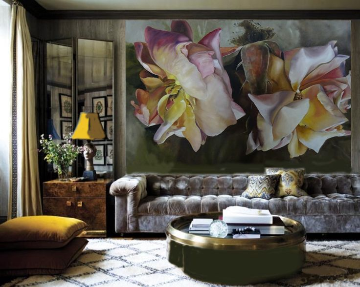 Diana Watson mural size painting in a very elegant room