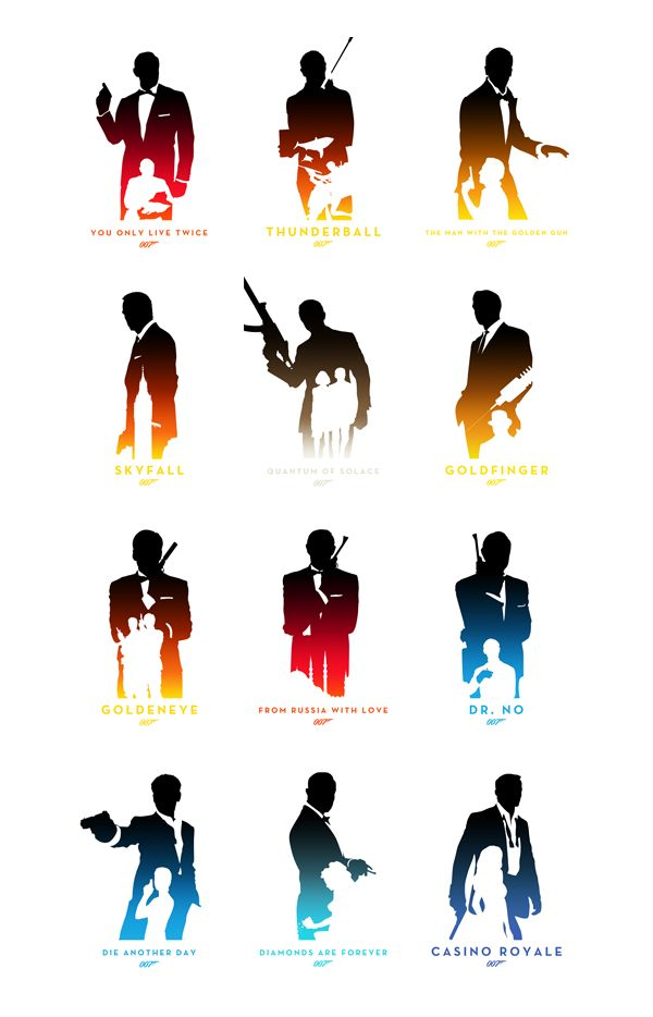 007: Skyfall and other James Bond films minimalist movie posters