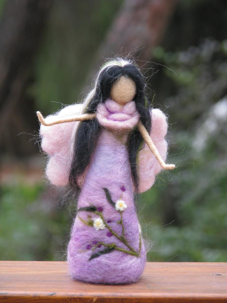 Needle felted pink/purple fairy waldorf inspired