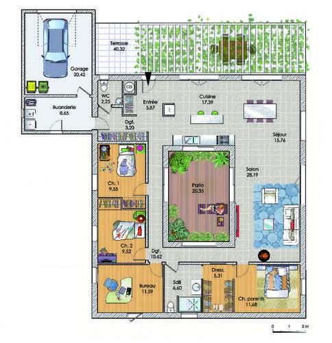 Vaste maison de plain-pied - Détail du plan de Vaste maison de plain-pied | Faire construire sa maison