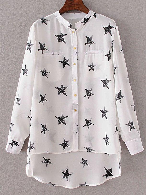 Shop White Stand Collar Stars Print Dip Hem Blouse online. SheIn offers White Stand Collar Stars Print Dip Hem Blouse & more to fit your fashionable needs.