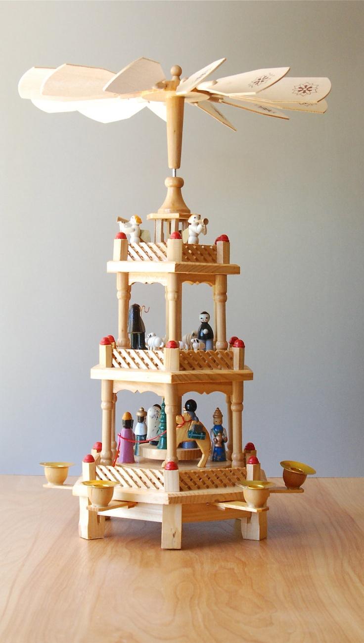 Pyramid christmas ornament - Vintage German Christmas Nativity Pyramid Carousel 3 Tier 138 00 Via Etsy