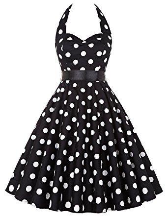 Grace Karin Vintage Retro Festliche Kleider Neckholder Polka Dots  Sommerkleid XS~XXXL ZY4599: Amazon