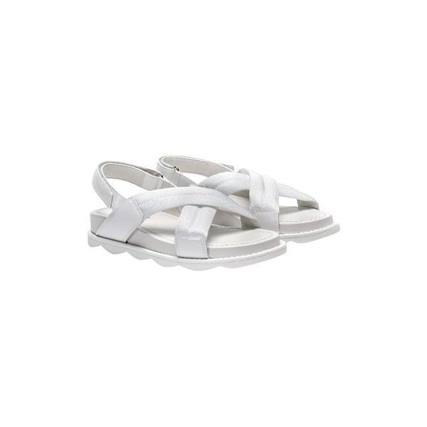 Prada Sport Sandals ($331) ❤ liked on Polyvore featuring shoes, sandals, white, velcro closure shoes, prada sport shoes, white sandals, prada sport sandals and white shoes