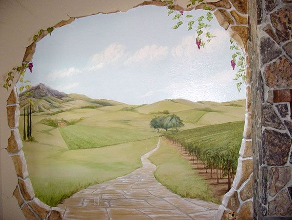 Country Marble Porch Wall Mural - Trompe L&#39-oeil Illusion Art ...